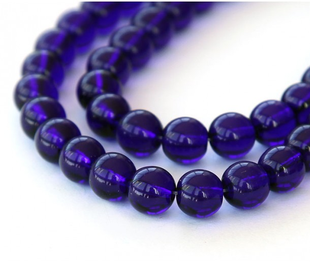 Cobalt Czech Glass Beads, 8mm Round
