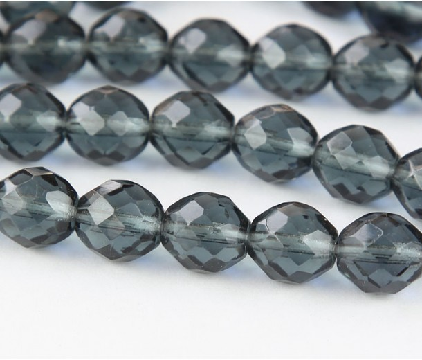 Montana Blue Czech Glass Beads, 10mm Faceted Round