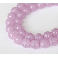 Milky Lilac Czech Glass Beads, 10mm Round, Pack of 25