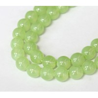 Milky Mint Green Czech Glass Beads, 10mm Round, Pack of 25