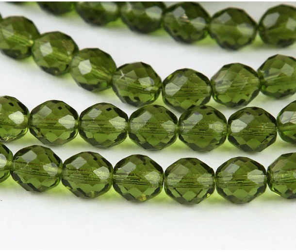 Olivine Czech Glass Beads, 10mm Faceted Round