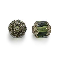 Olivine Picasso Czech Glass Beads, 6mm Renaissance, Pack of 25
