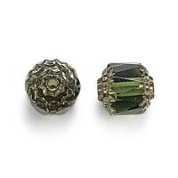 Olivine Picasso Czech Glass Beads, 6mm Renaissance