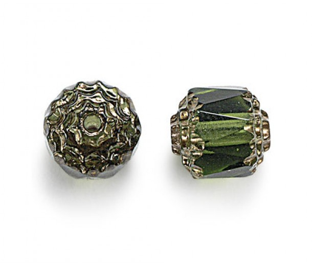 Olivine Picasso Czech Glass Beads, 6mm Renaissance