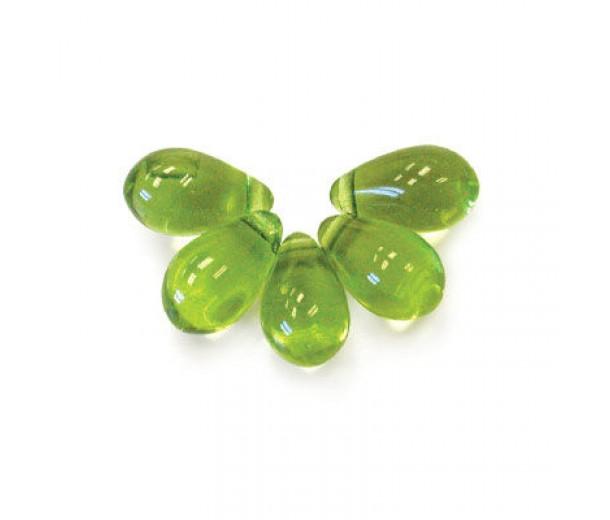 Olivine Green Czech Glass Beads, 9x6mm Teardrop