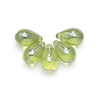 Olivine Shimmer Czech Glass Beads, 9x6mm Teardrop, 2.75 Inch Tube