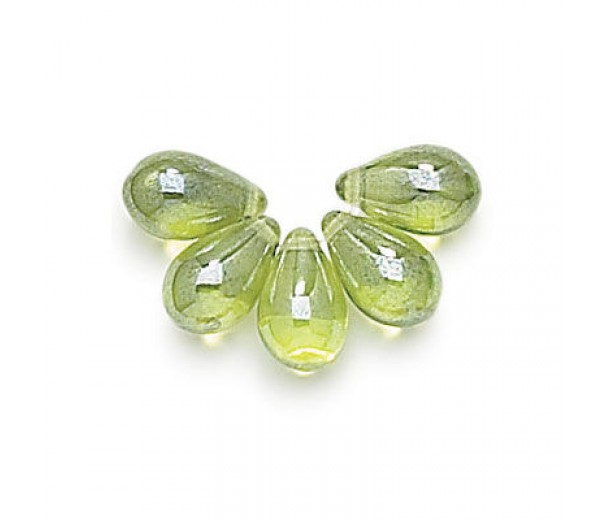 Olivine Luster Czech Glass Beads, 9x6mm Teardrop, Pack of 50