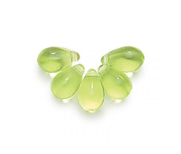 Peridot Green Czech Glass Beads, 9x6mm Teardrop