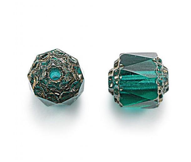 Teal Picasso Czech Glass Beads, 6mm Renaissance, 7 Inch Strand