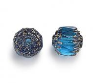 Aqua Blue Picasso Czech Glass Beads, 6mm Renaissance