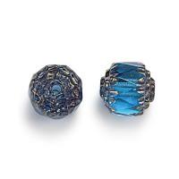 Aqua Blue Picasso Czech Glass Beads, 6mm Renaissance, Pack of 25