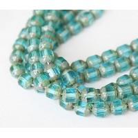 Aqua Picasso Czech Glass Beads, 8mm Renaissance