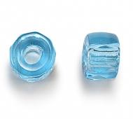 Aqua Blue Czech Glass Beads, 6mm Faceted Pony