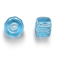 Aqua Blue Czech Glass Beads, 9mm Faceted Pony