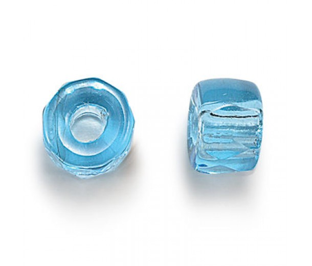 Aqua Blue Czech Glass Beads, 6mm Faceted Pony