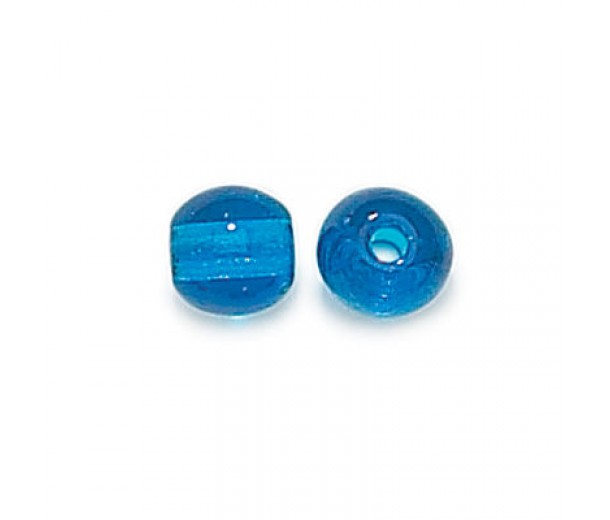 Capri Blue Czech Glass Beads, 8mm Round Large Hole, Pack of 25