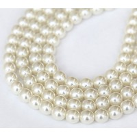 Snow White Pearl Czech Glass Beads, 8mm Round