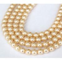 Vanilla Pearl Czech Glass Beads, 8mm Round