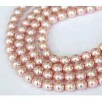 Rose Pink Pearl Czech Glass Beads, 8mm Round
