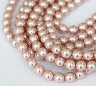 Blush Pink Pearl Czech Glass Beads, 8mm Round
