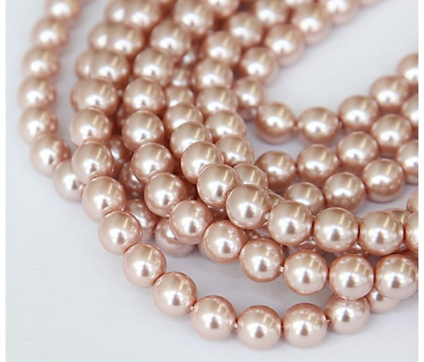 Blush Pink Pearl Czech Glass Beads, 8mm Round