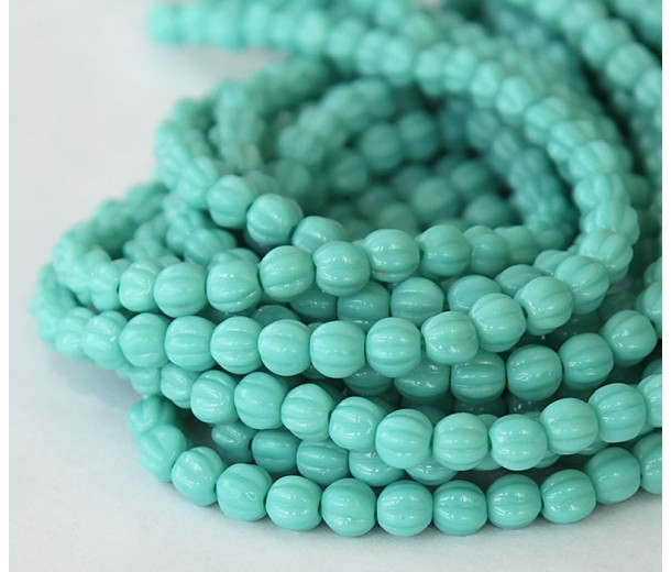 Turquoise Czech Glass Beads, 5mm Melon Round