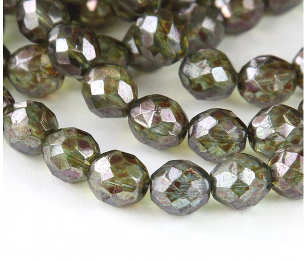 Transparent Green Luster Czech Glass Beads, 10mm Faceted Round