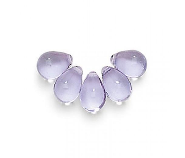 Light Tanzanite Czech Glass Beads, 9x6mm Teardrop