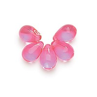 Rose Pink Czech Glass Beads, 9x6mm Teardrop