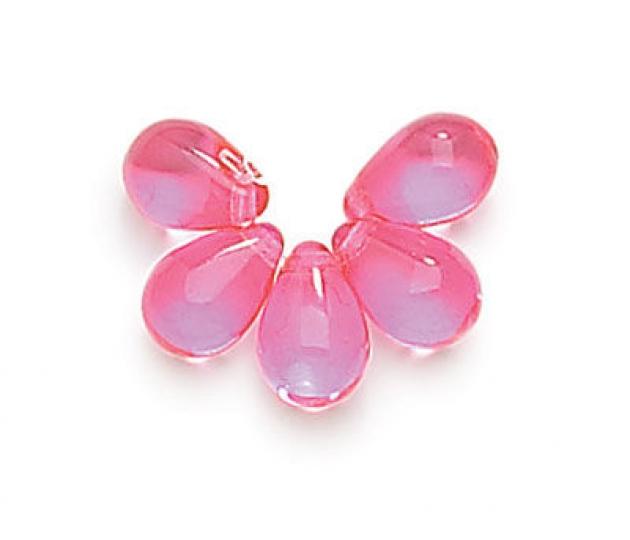Rose Pink Czech Glass Beads 9x6mm Teardrop Golden Age Beads