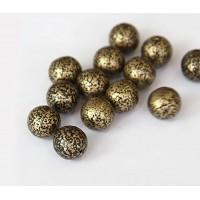Antique Gold Czech Glass Beads, 10mm Round