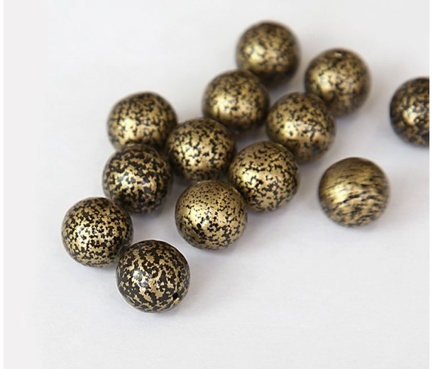 Antique Gold Czech Glass Beads, 10mm Round