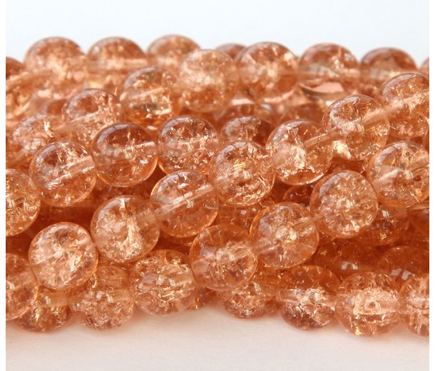Crackle Rosaline Czech Glass Beads, 10mm Round, Pack of 20