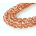 Crackle Rosaline Czech Glass Beads, 10mm Round