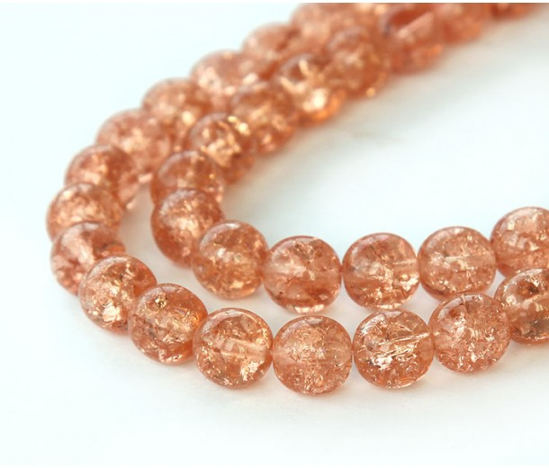 Crackle Rosaline Czech Glass Beads, 10mm Round