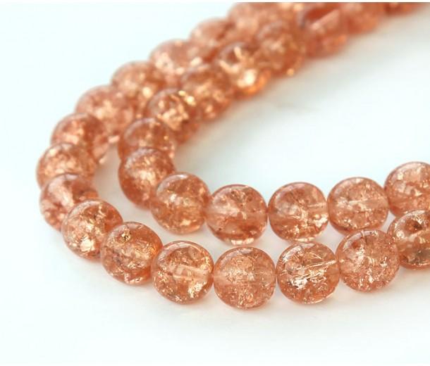 Crackle Rosaline Czech Glass Beads, 8mm Round