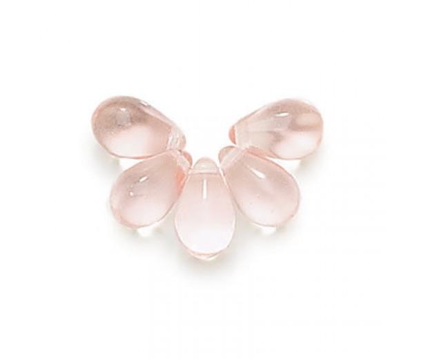 Pink Czech Glass Beads, 9x6mm Teardrop, Pack of 50