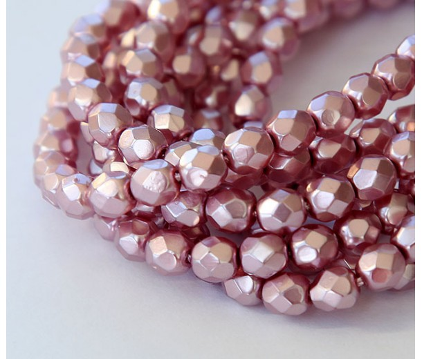 Dark Pink Pearl Czech Glass Beads, 6mm Faceted Round