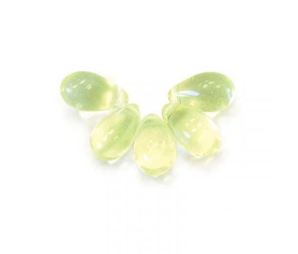 Jonquil Czech Glass Beads, 9x6mm Teardrop