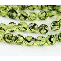 Green Tortoise Shell Czech Glass Beads, 10mm Faceted Round