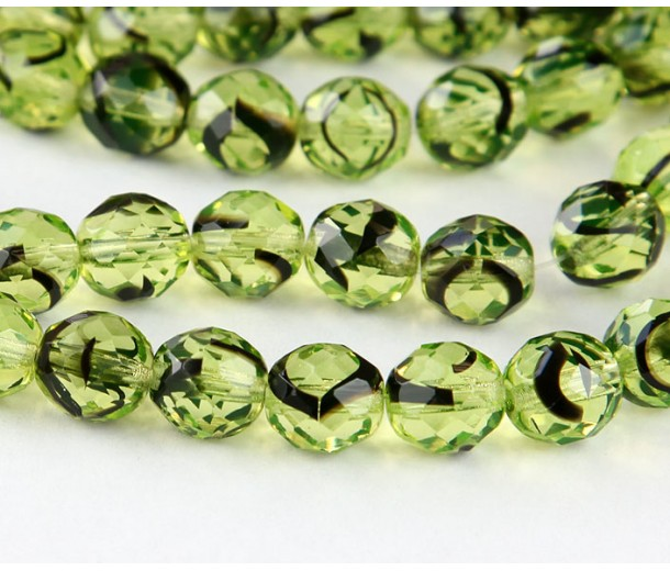 Green Tortoise Shell Czech Glass Beads, 10mm Faceted Round
