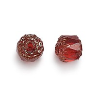 Siam Red Picasso Czech Glass Beads, 6mm Renaissance