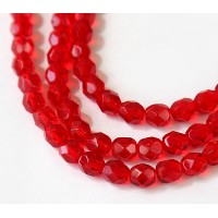 Siam Red Czech Glass Beads, 6mm Faceted Round