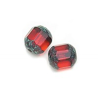 Siam Red Picasso Czech Glass Beads, 8mm Renaissance