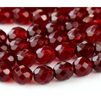 Ruby Czech Glass Beads, 10mm Faceted Round