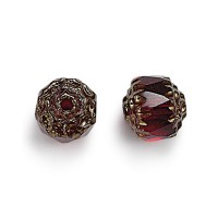 Ruby Red Picasso Czech Glass Beads, 6mm Renaissance, Pack of 25