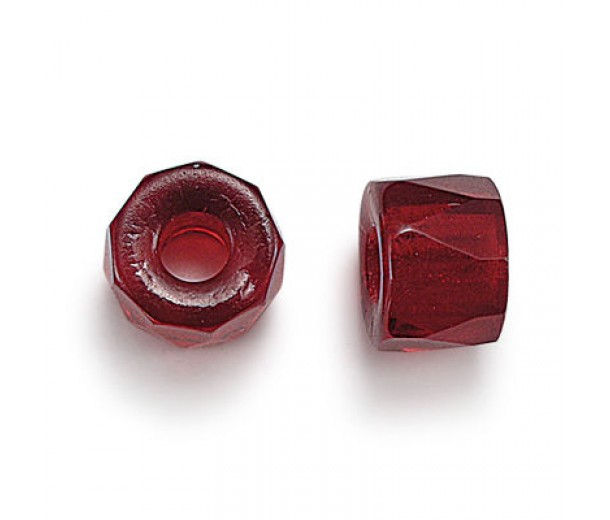 Ruby Czech Glass Beads, 6mm Faceted Pony