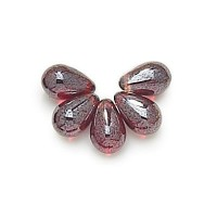 Ruby Luster Czech Glass Beads, 9x6mm Teardrop, Pack of 50