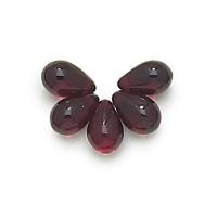 Ruby Czech Glass Beads, 9x6mm Teardrop, Pack of 50