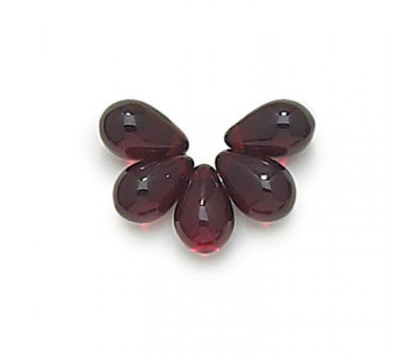 Garnet Red Czech Glass Beads, 9x6mm Teardrop, 2.75 Inch Tube